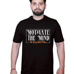 Motivate the Mind The body will follow Tshirt Black Front