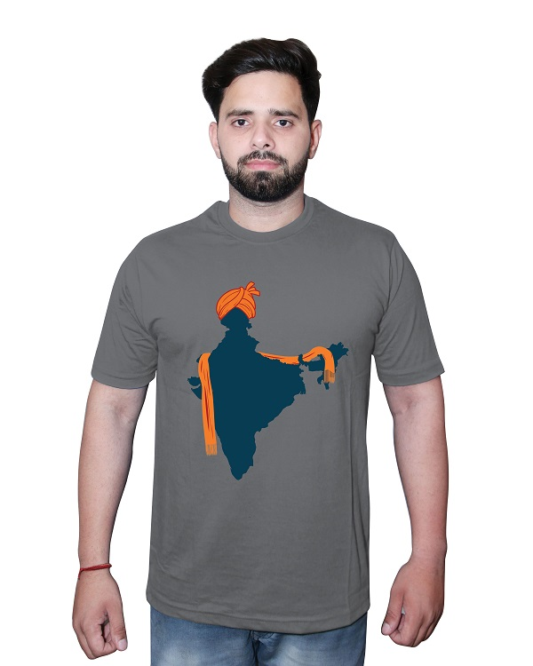 Indian Map Tshirt Grey Front
