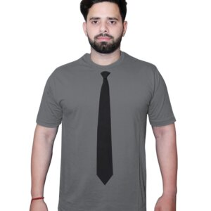 NeckTie Tshirt Grey Front