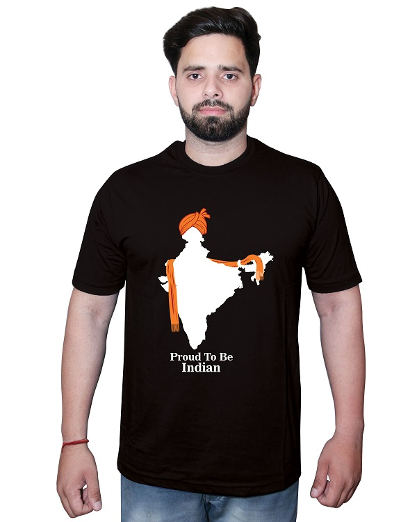 Proud to be Indian Map Tshirt Black Front