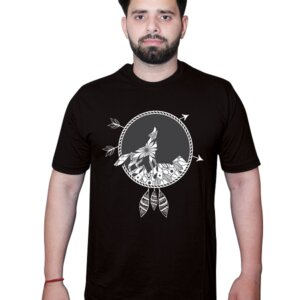 Wolf and Full Moon Black Tshirt Front
