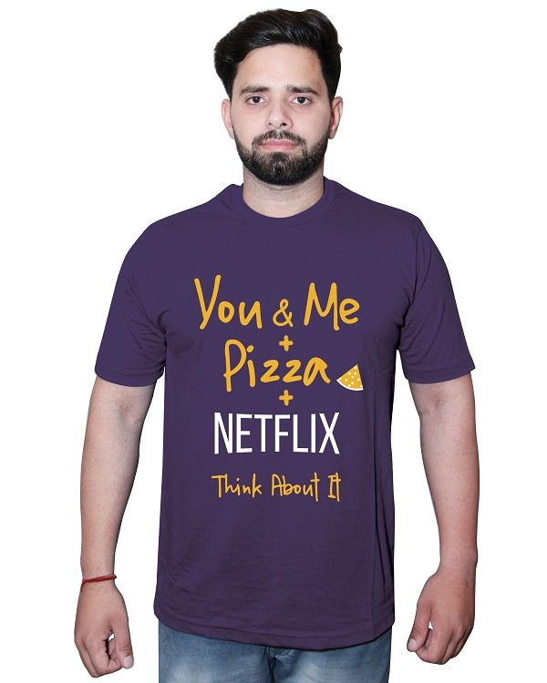 You & Me Plus Pizza Tshirt Purple Front